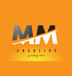 Mm m m letter modern logo design with yellow vector