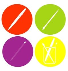 Monochrome icon set with pens vector