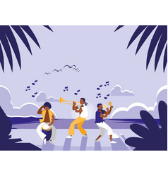 music band in tropical beach vector image