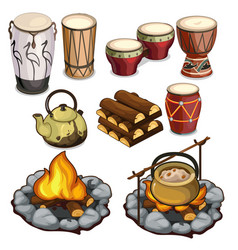 musical instruments drums and elements of camping vector image