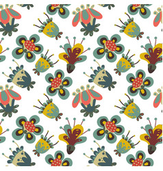 naive fantasy flower and birds pattern vector image