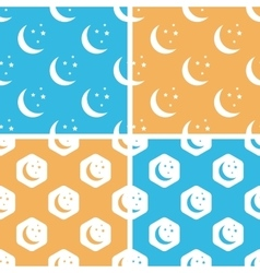 Night moon pattern set colored vector
