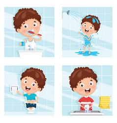 of kid bathing brushing teeth vector image