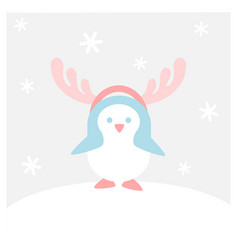Penguins waring deer antler - winter flat icon set vector