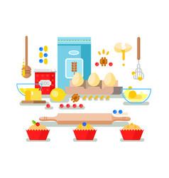 Preparation baking ingredients vector