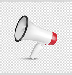 Realistic 3d simple white megaphone icon vector