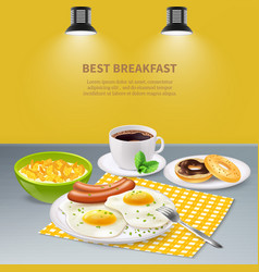Realistic breakfast background vector