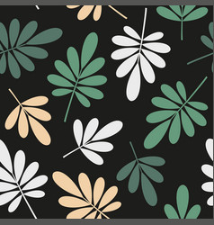 seamless stylized green and beige leaves pattern vector image