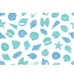 Seashell seamless pattern background vector