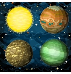 Set of cosmic planets in outer space vector