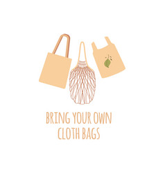 set of three shopping reusable grocery cloth eco vector image