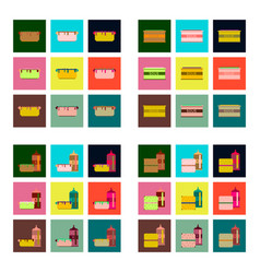 set pixel icons fast food vector image