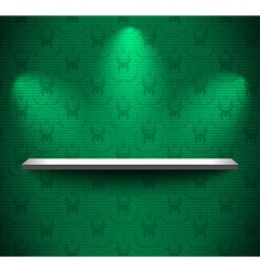 Shelf on the green wall vector