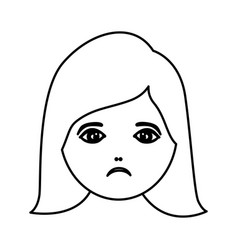 Silhouette cartoon human female sad face vector