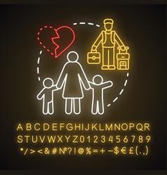 Single parenthood neon light concept icon marital vector