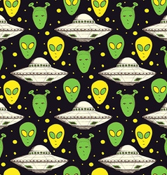 Sketch aliens and plate vector