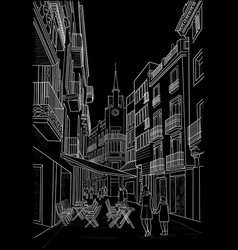 sketch of the street of sitges vector image