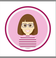 Smiling girl face with brown hair and glasses vector