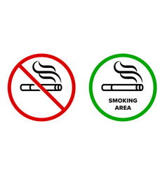 smoking area and no smoking icons cigarette vector image