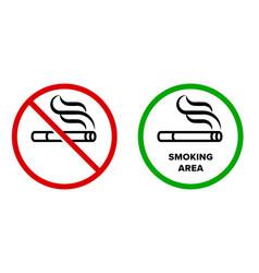smoking area and no smoking icons cigarette vector image