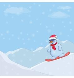 snowman snowboarding vector image