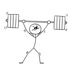 Stickman cartoon of weightlifter with barbell vector