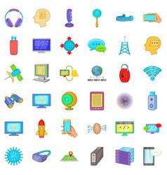 Storage database icons set cartoon style vector