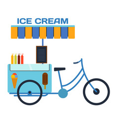 Street food ice cream color restaurant bike vector