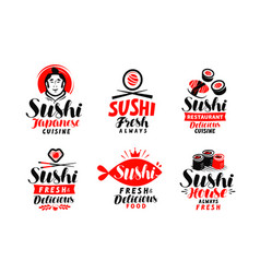 Sushi japanese cuisine logo or label set of vector