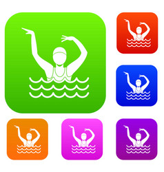 swimmer in a swimming pool set collection vector image