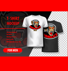 T-shirt mockup with monkey phrase in two colors vector