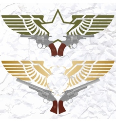 The star icon with wings and revolvers vector
