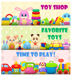 Time to play with favourite toys colorful poster vector