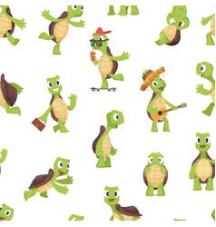 turtles pattern funny kids cartoon turtle happy vector image