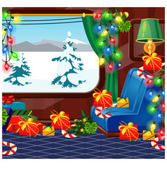 view from window a train decorated in vector image