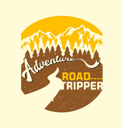 vintage adventure road tripper mountain and vector image