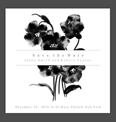 Watercolor black and white floral wedding vector