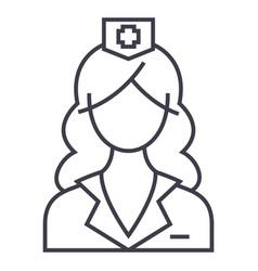 woman doctor nurse line icon sign vector image