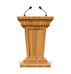 Wooden realistic podium or pedestal with vector