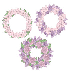 Wreaths floral flower decorative vector