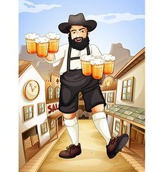 A waiter with glasses of cold beers vector image
