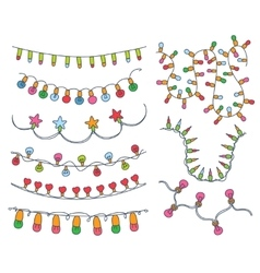 Colorful Garlands and Bulbs vector image