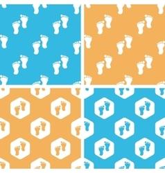 Footprint pattern set colored vector image