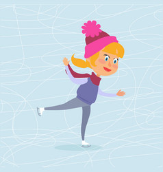 isolated cartoon girl skating on frozen surface vector image vector image