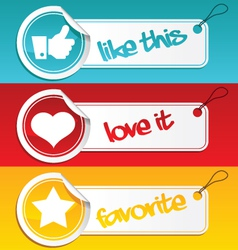 like love and favorite tags vector image vector image