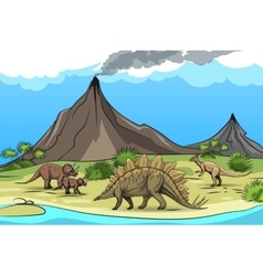 Prehistory with dinosaurs and volcano vector image