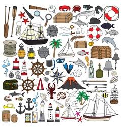 set of objects symbolizing navigation vector image