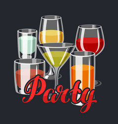 Background with alcohol drinks and cocktails in vector