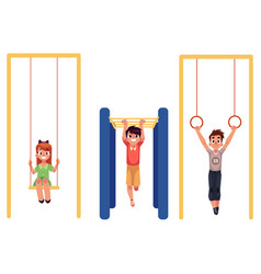 kids at playground hanging on monkey bars vector image vector image