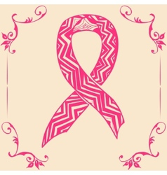 pink ribbon Doodle style vector image